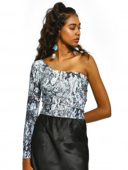 New Look Glitter Snake Print One-Shoulder Crop Top