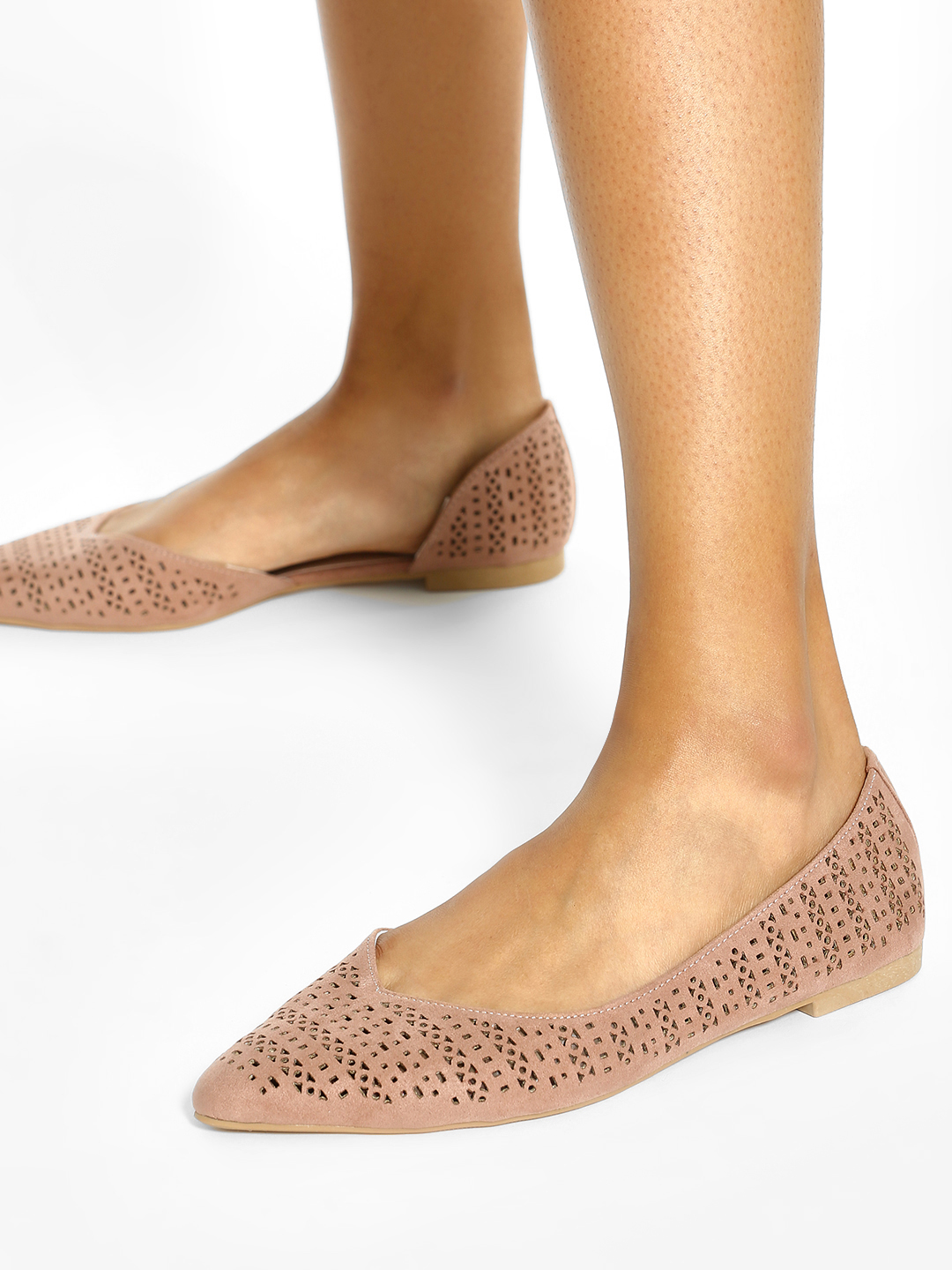 New Look Pink Laser Cut Pointed Ballerinas 1