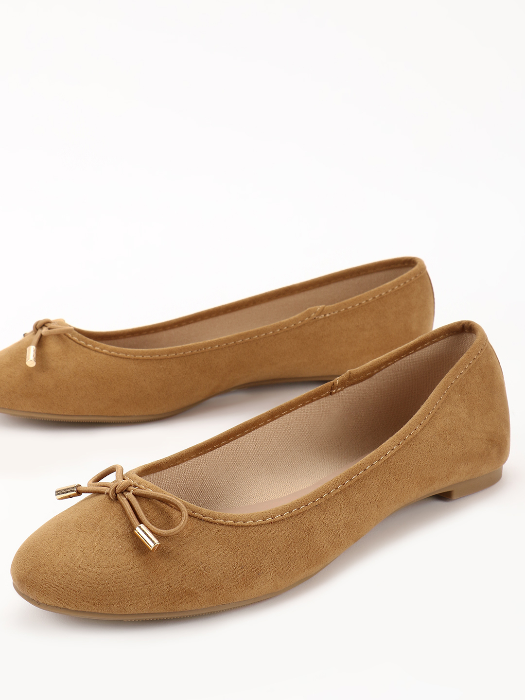 New Look Brown Suede Bow Detail Ballerinas 1