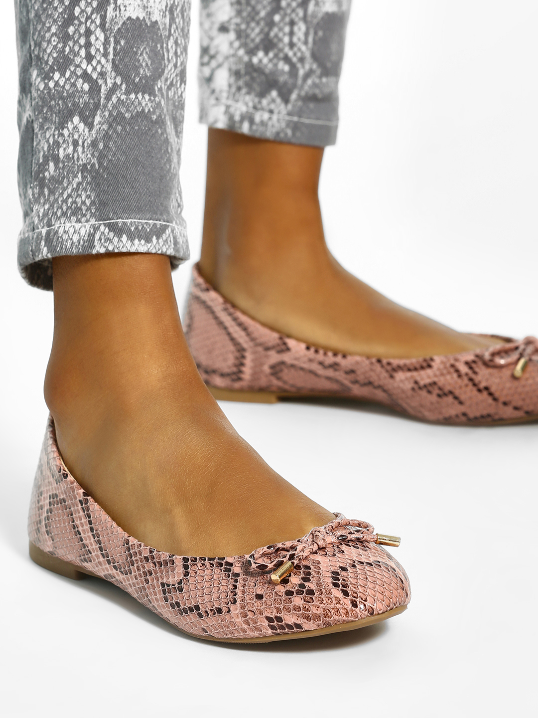 New Look Multi Snake Print Bow Detail Ballerinas 1