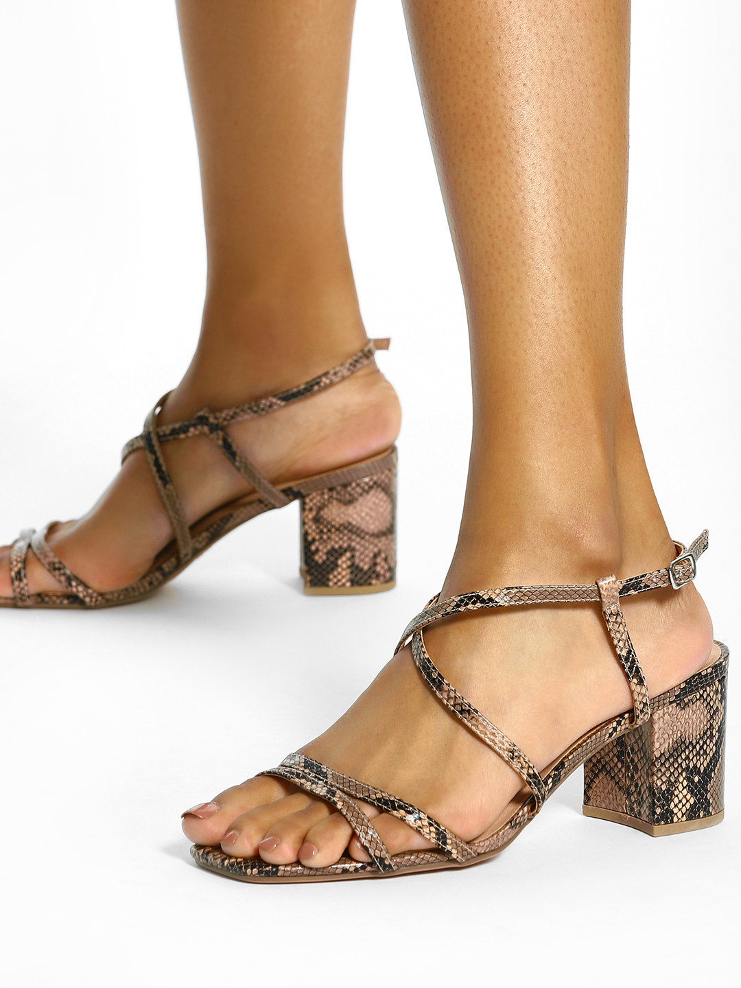 New Look Brown Snake Print Block Heeled Sandals 1