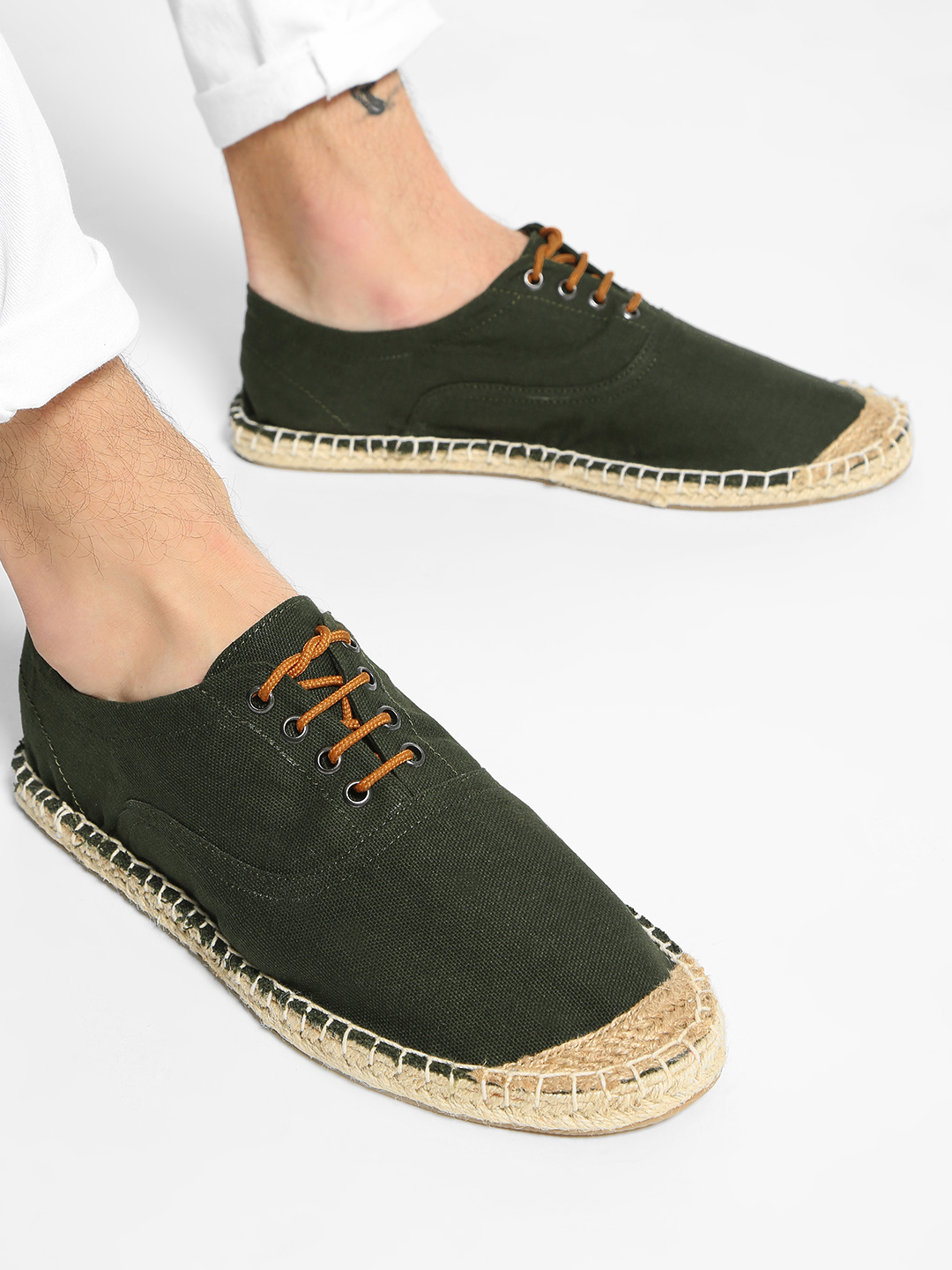 KOOVS Green Lace-Up Espadrille Casual Shoes 1