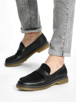 KOOVS Corduroy Panel Cleated Sole Loafers