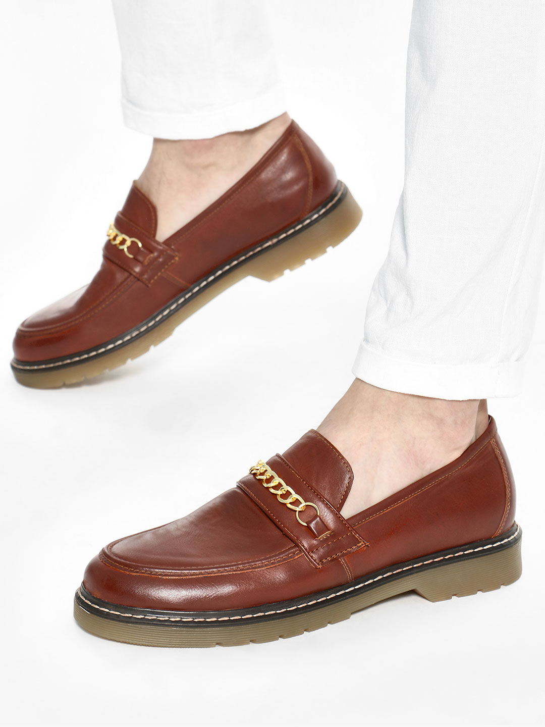 KOOVS Brown Chain Trim Loafers 1