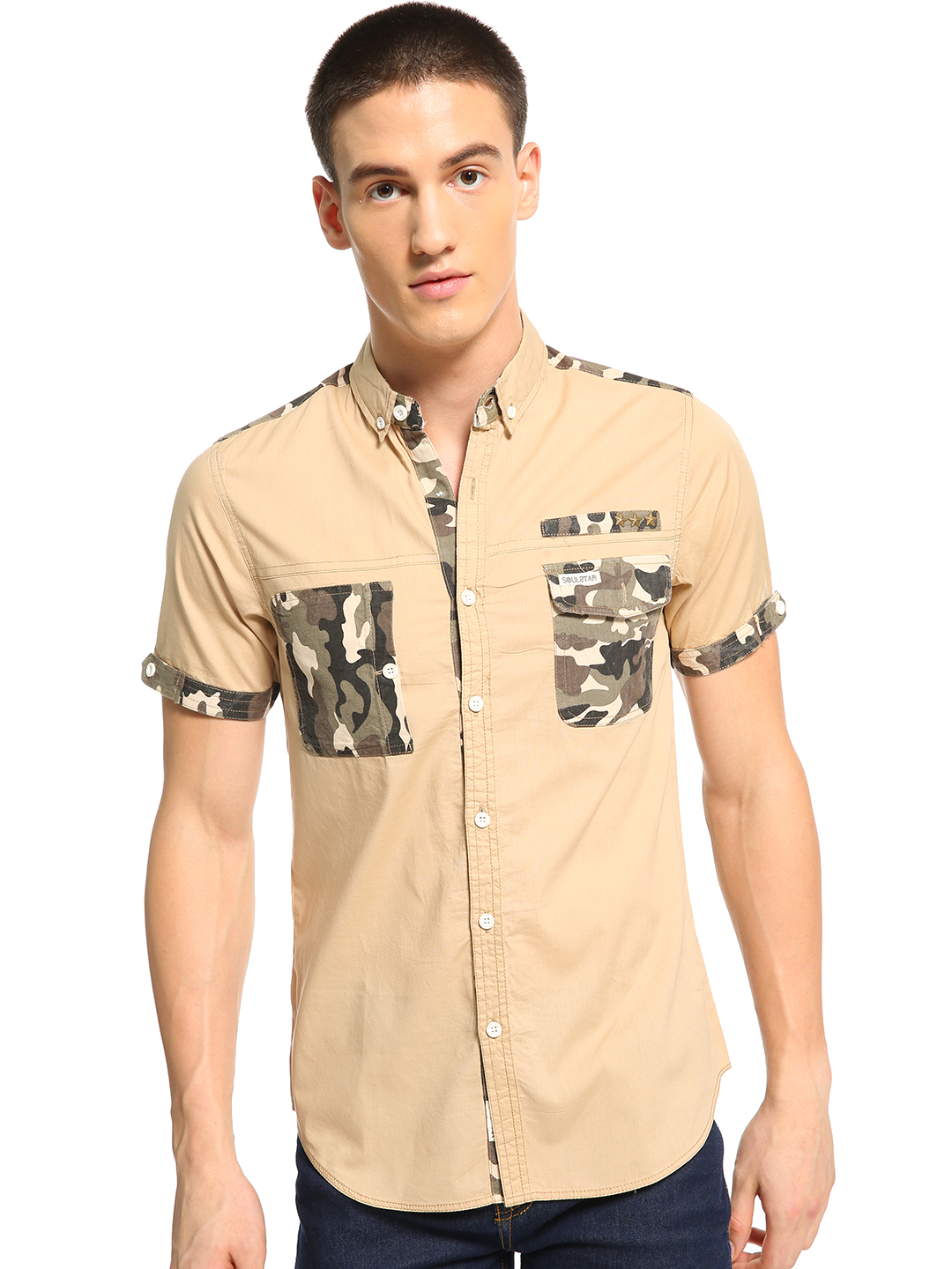Soulstar Brown Camo Patch Pocket Shirt 1