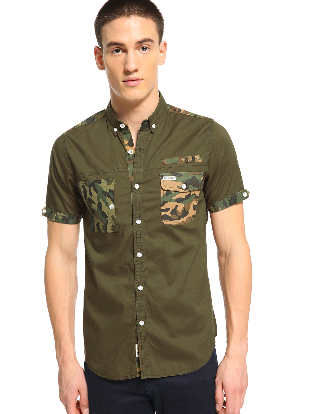Soulstar Green Camo Patch Pocket Shirt 1