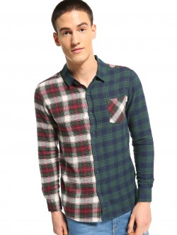 Soulstar Half And Half Checkered Shirt