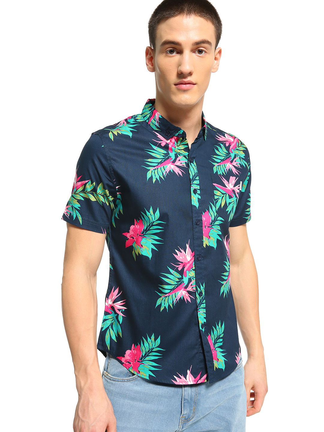 Soulstar Blue Tropical Floral Print Shirt 1