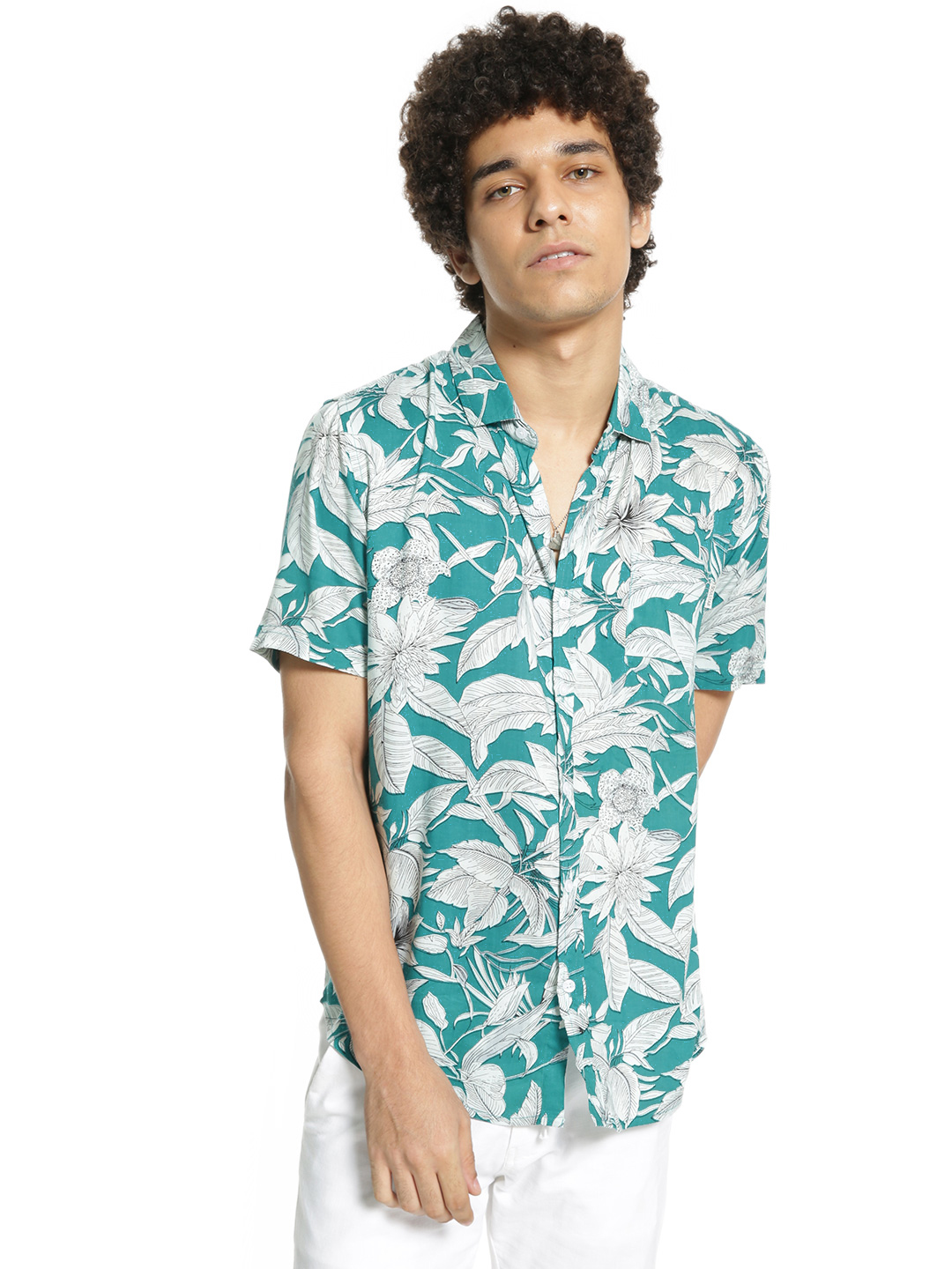 Soulstar Blue Tropical Print Short Sleeve Shirt 1