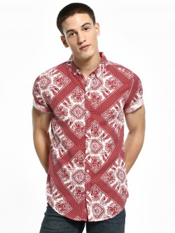 Soulstar Tribal Scarf Print Short Sleeve Shirt