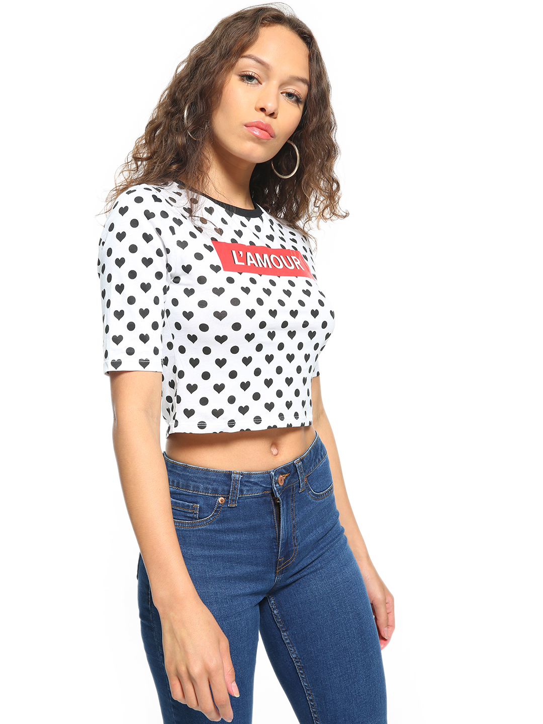 People White Text Print Knitted Crop Top 1