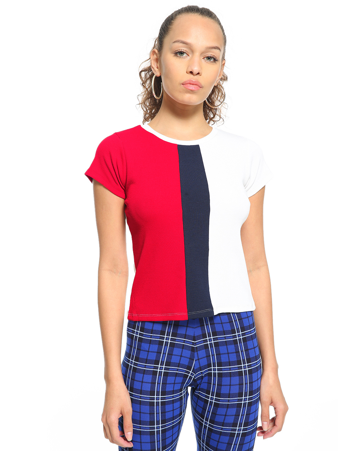 People Multicolor Ribbed Colour Block Top 1