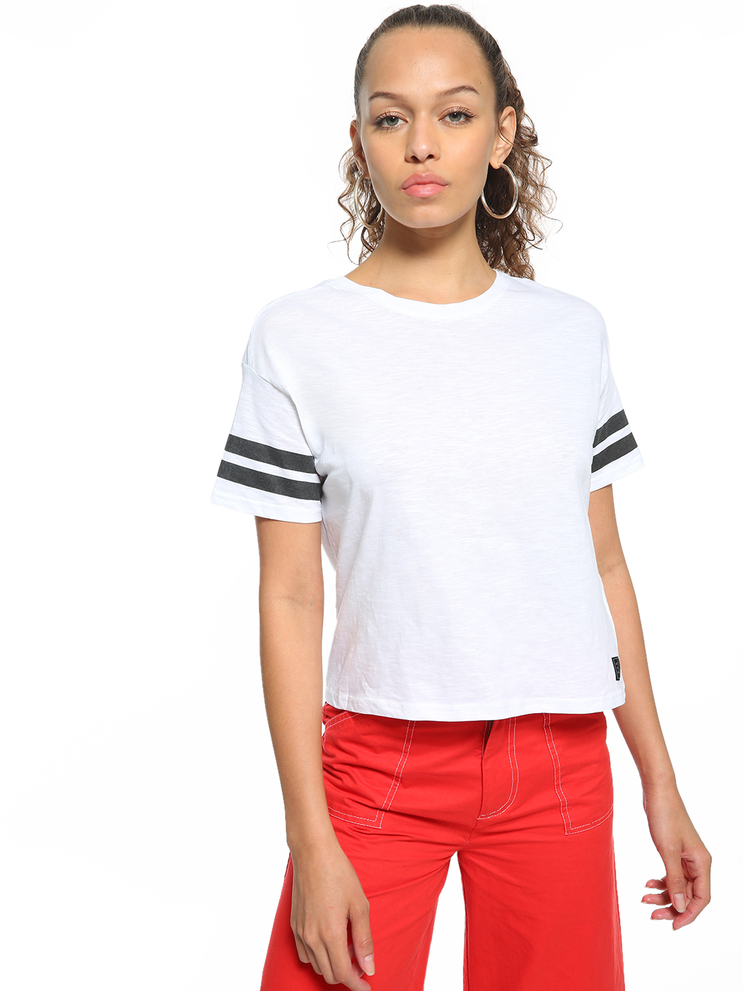 People White Striped Sleeve Knit T-Shirt 1