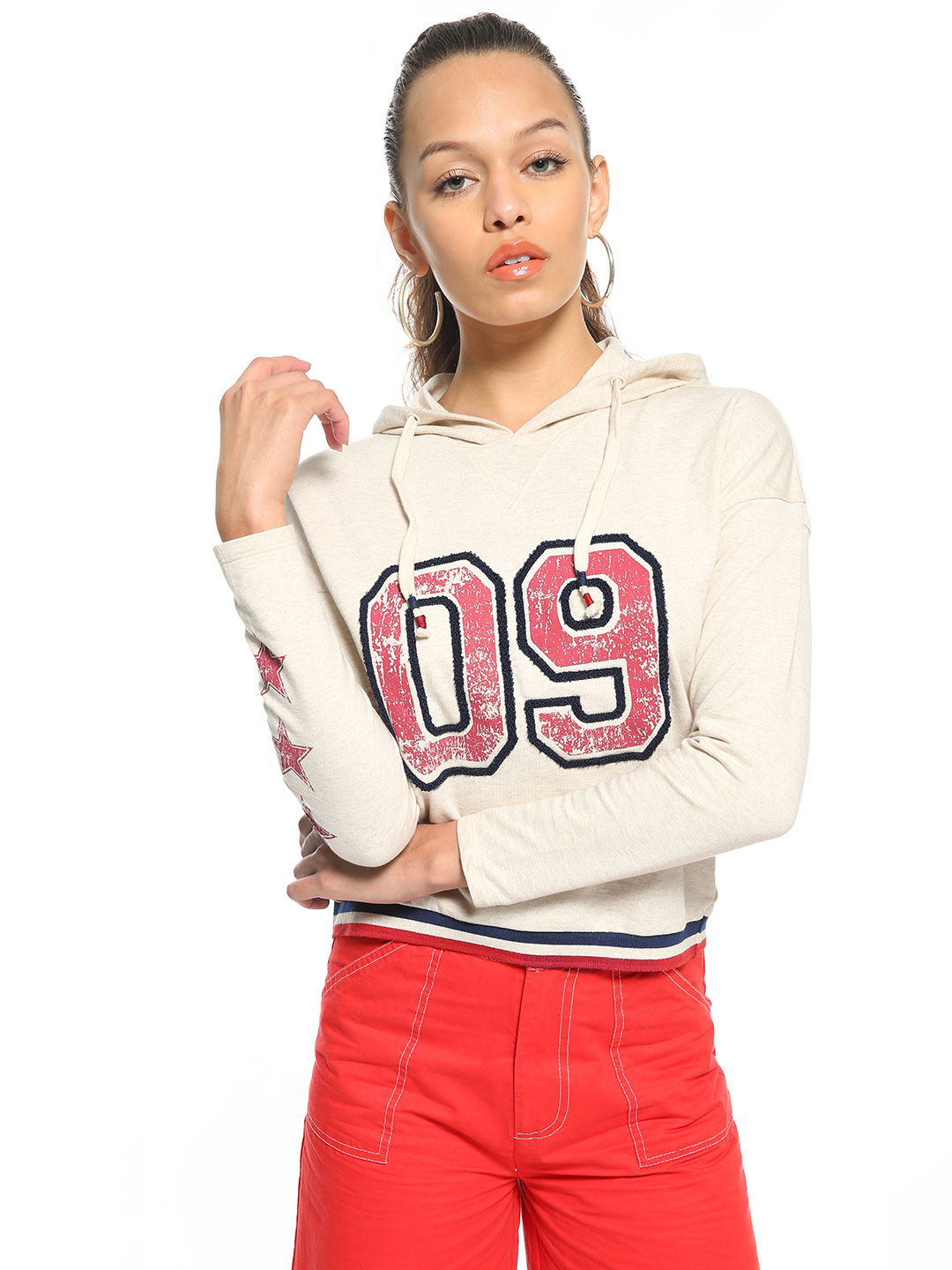 People Pink Embroidered Number Patch Hooded Sweatshirt 1
