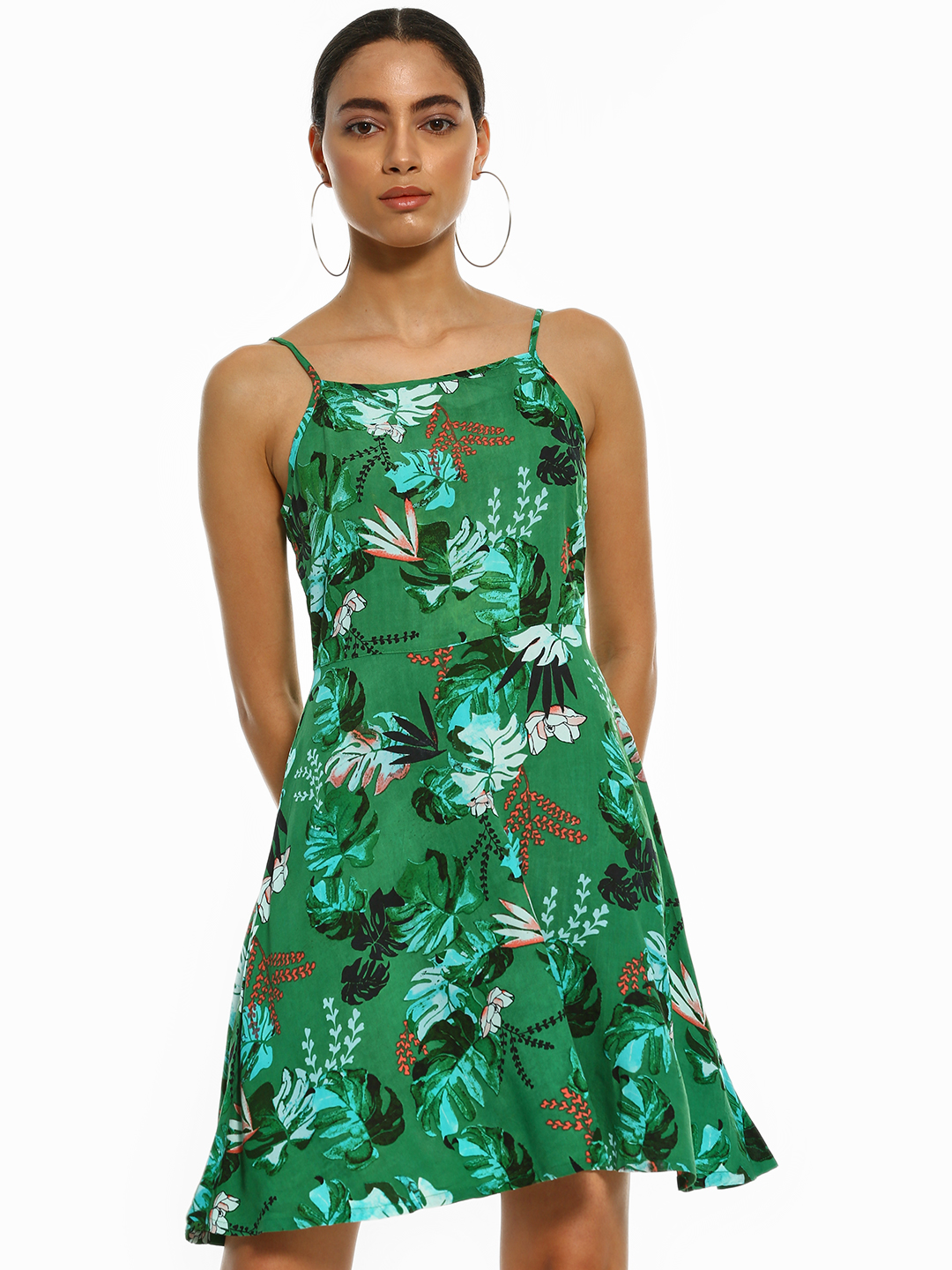 People Green Tropical Print Strappy Skater Dress 1