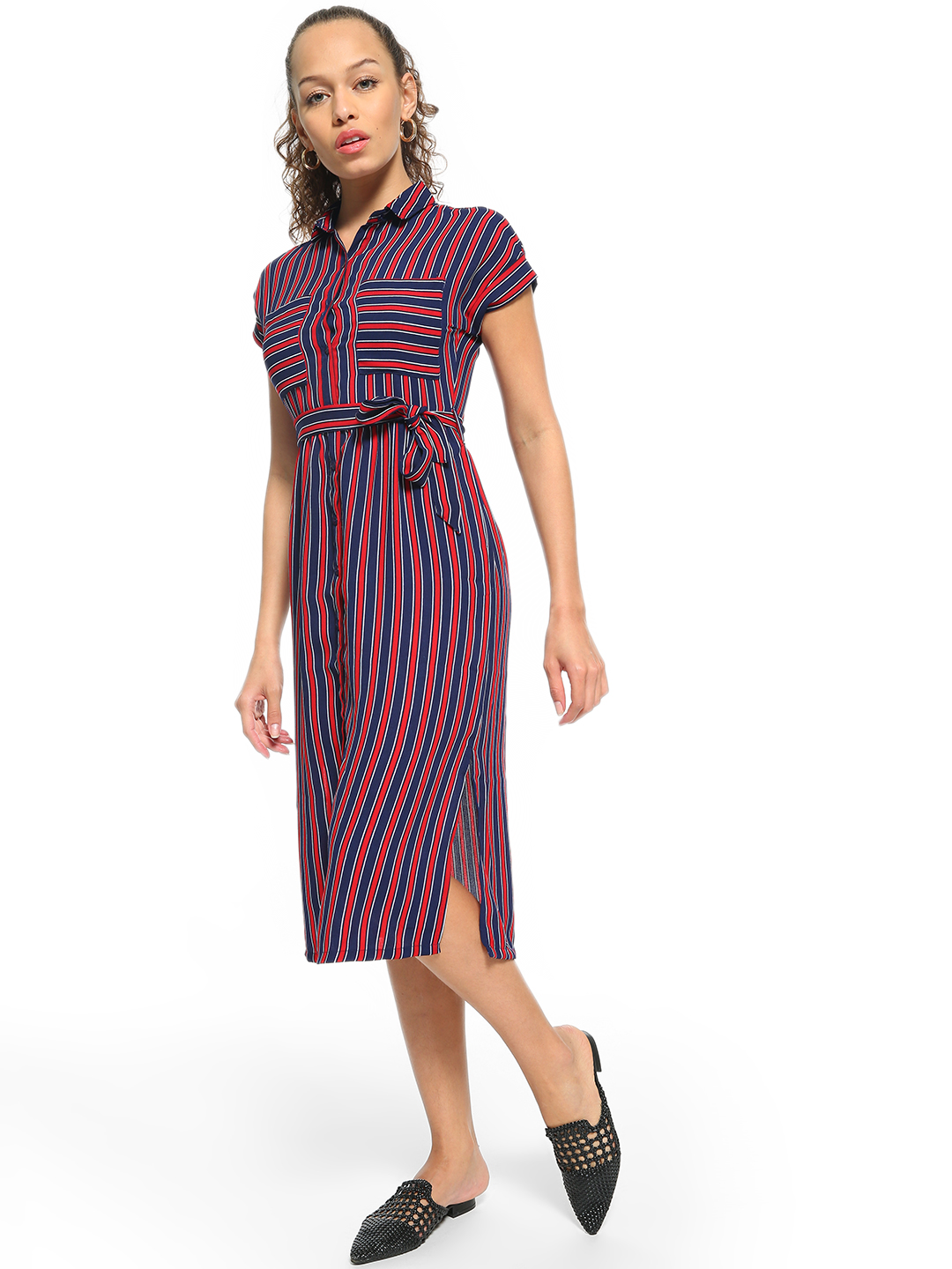 People Red Striped Button-Down Midi Dress 1