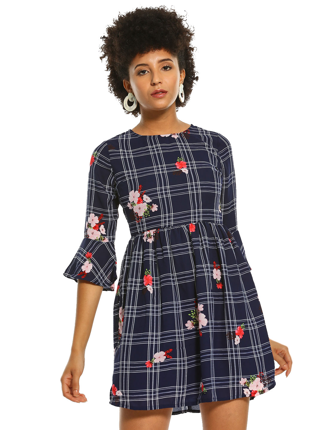 People Navy Floral & Check Print Mini Skater Dress 1