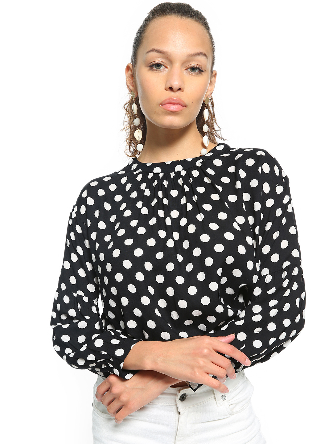People Black Polka Dot Print Crop Top 1