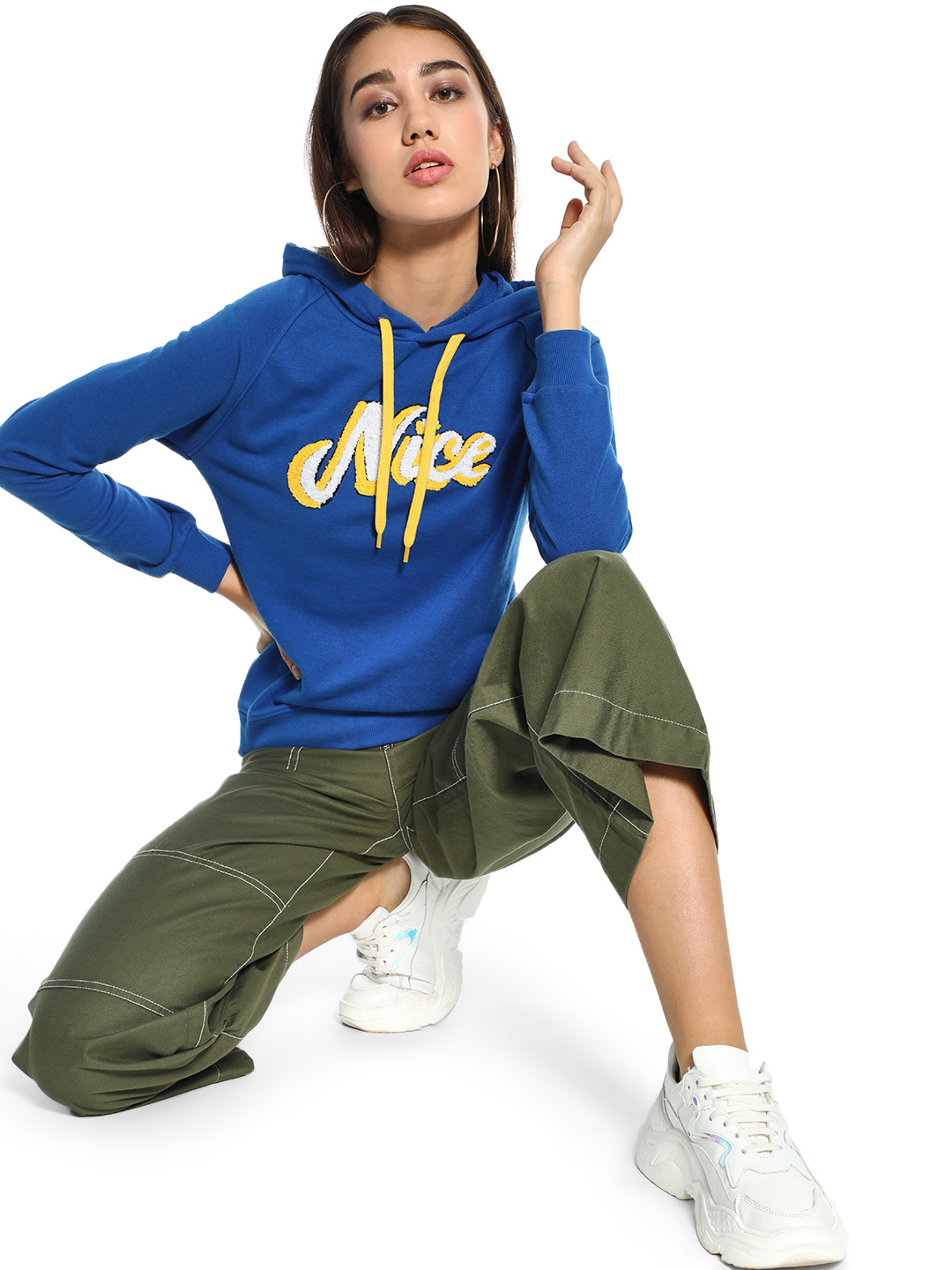 People Blue Nice Embroidered Patch Hooded Sweatshirt 1