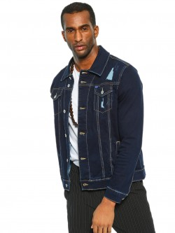 Blue Saint Dark Wash Distressed Denim Jacket