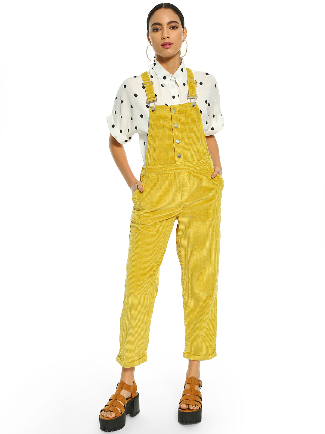 KOOVS Yellow Corduroy Button Detail Cropped Dungarees 1