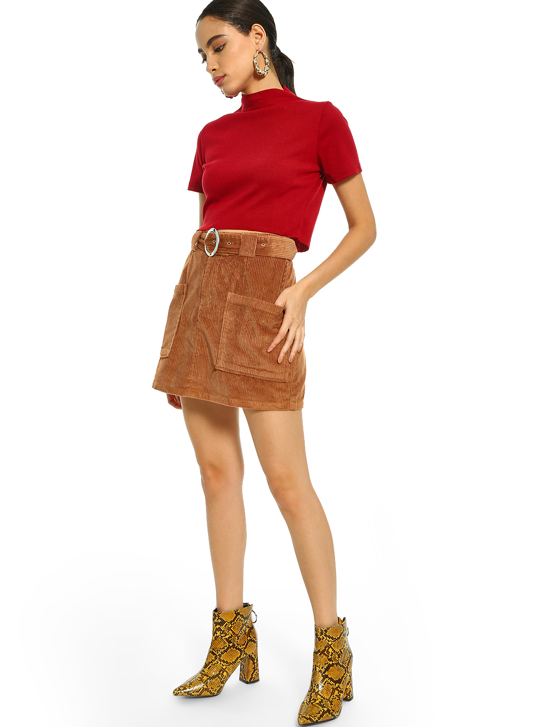 KOOVS Brown Corduroy Belted Utility Mini Skirt 1