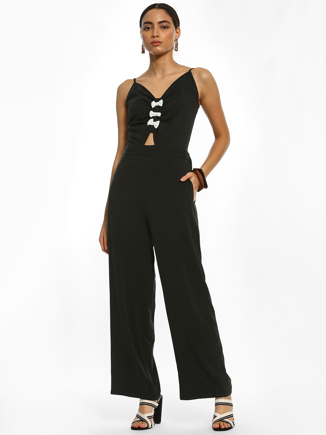 Ri-Dress Black Tie-Knot Back Strappy Jumpsuit 1