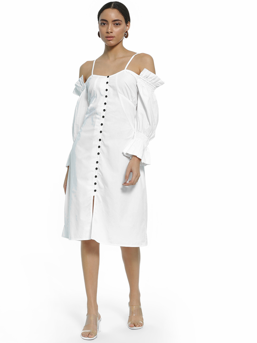 Ri-Dress White Button-Down Cold Shoulder Midi Dress 1