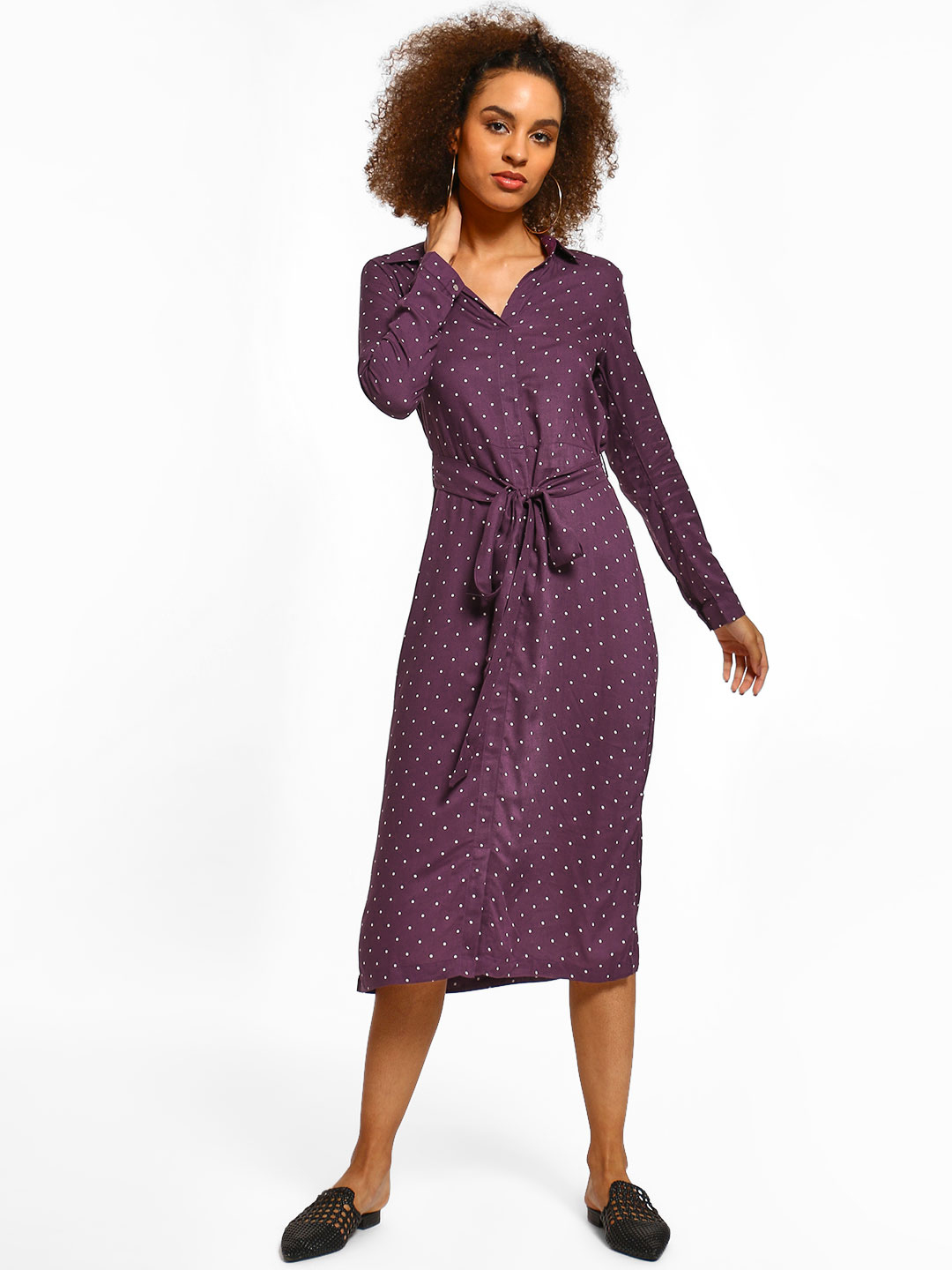 Miaminx Purple Polka Dot Collared Midi Dress 1