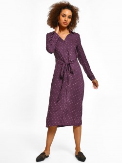 Miaminx Polka Dot Collared Midi Dress