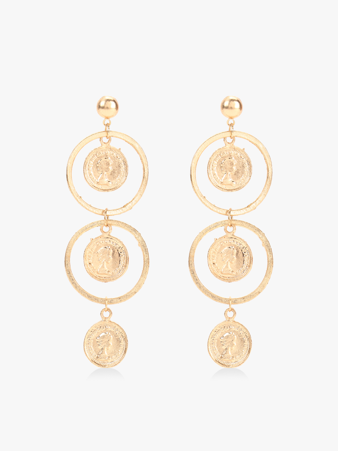 Blueberry Gold Coin Drop Earrings 1