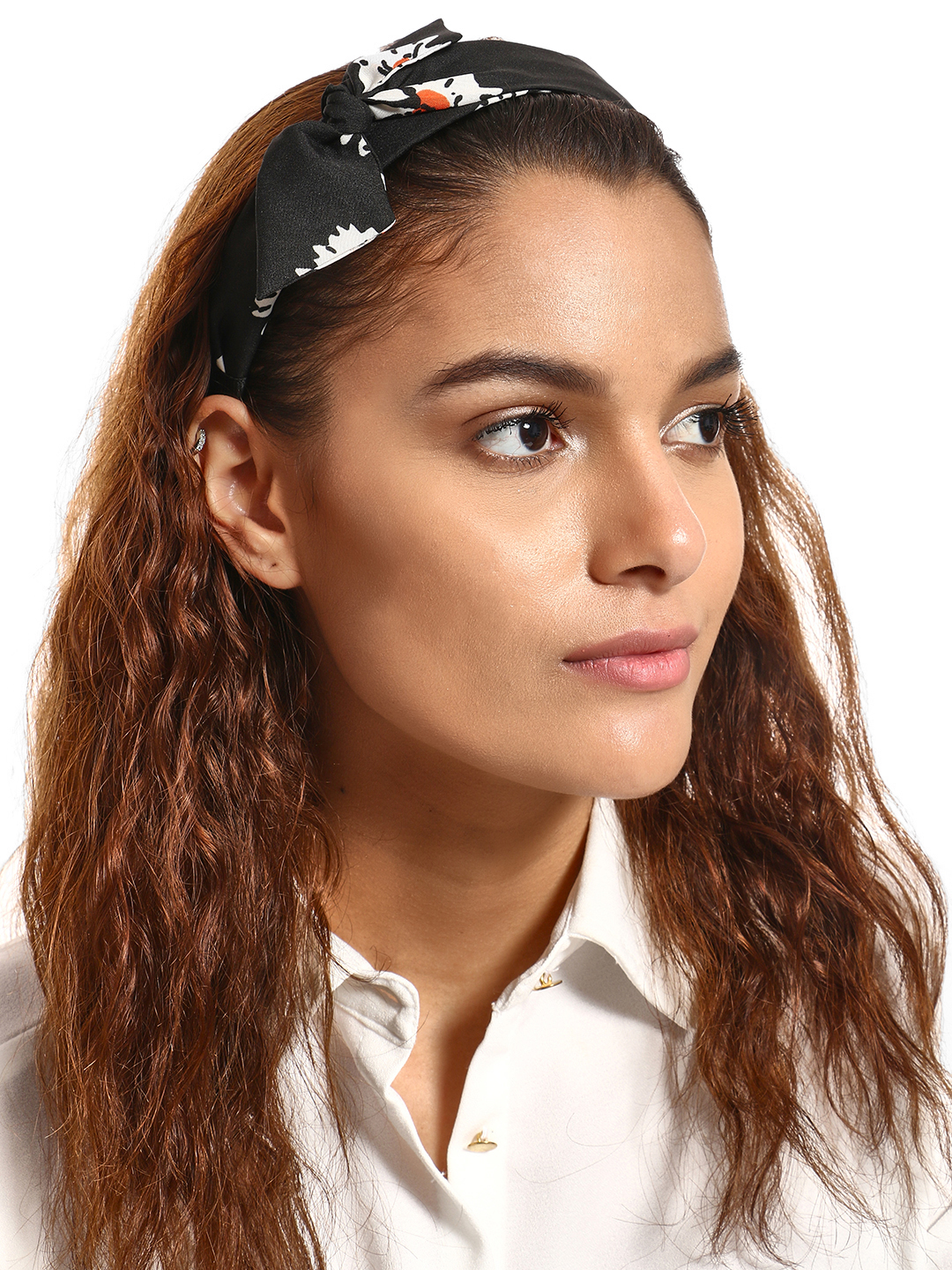 Blueberry Black Floral Print Bow Hairband 1