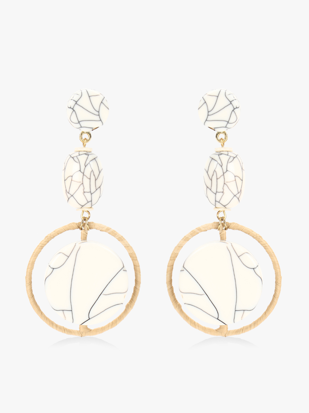 Blueberry White Marble Stone Drop Earrings 1