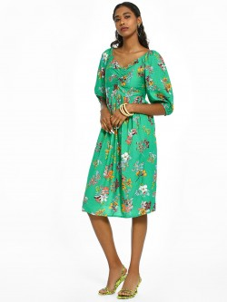 Rena Love Floral Print Smocked Midi Dress