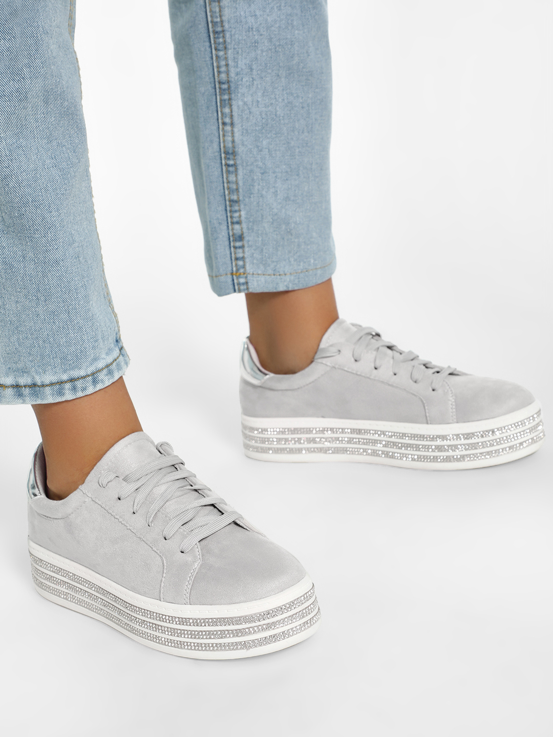 KOOVS Grey Diamante Embellished Elevated Suede Sneakers 1