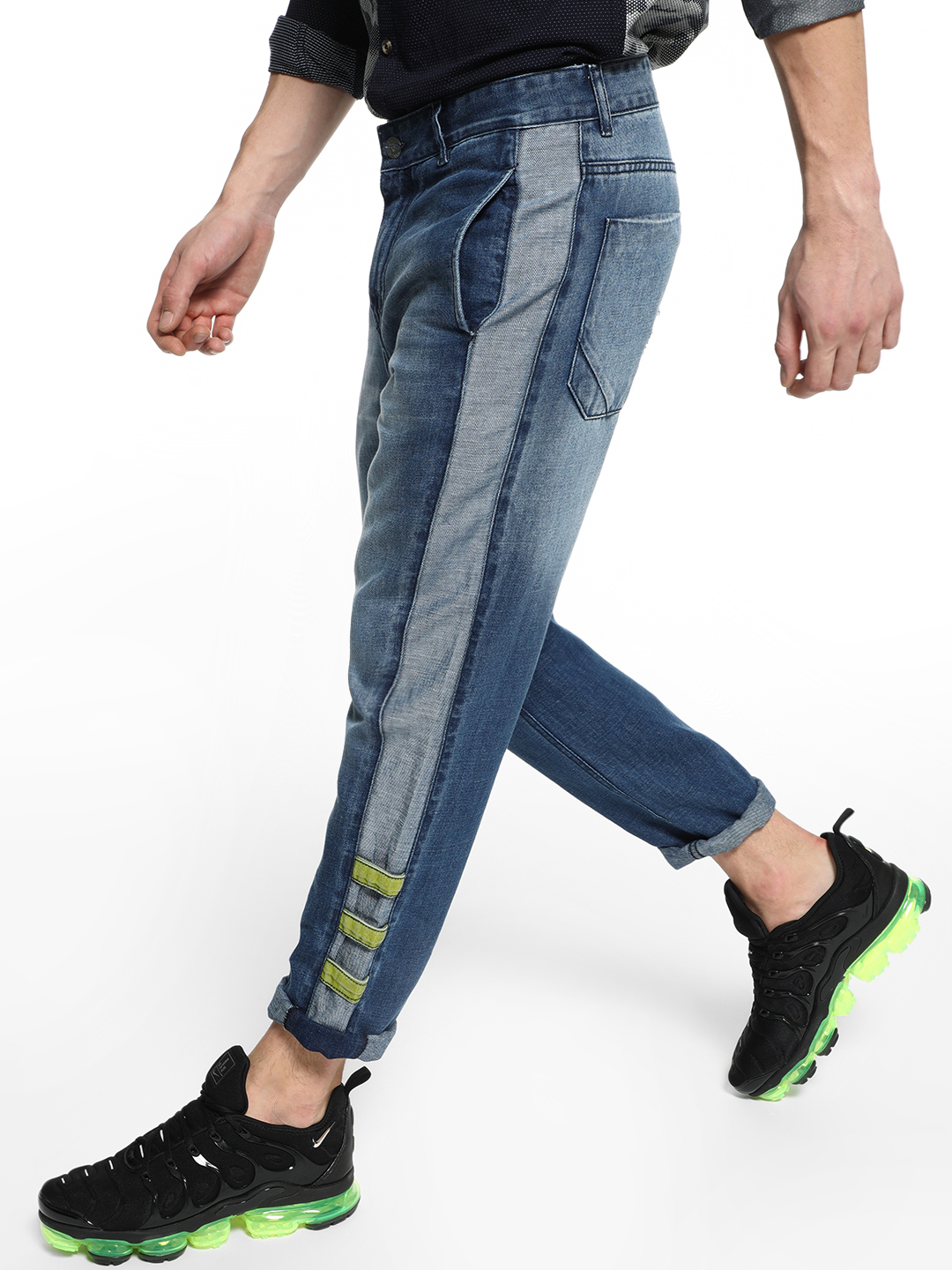 REALM Blue Cut & Sew Side Panel Regular Jeans 1