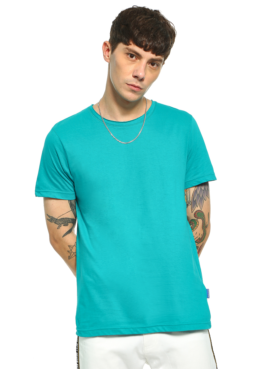 Blue Saint Blue Basic Raw Edge T-Shirt 1