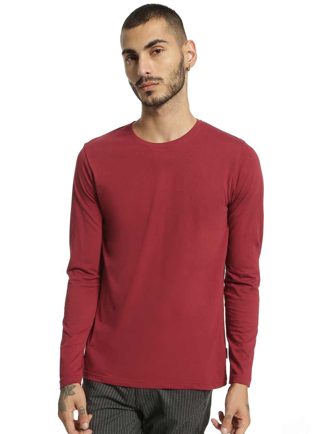 Blue Saint Maroon Basic Long Sleeve T-Shirt 1