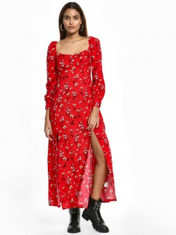 KOOVS Floral Print Front-Slit Maxi Dress