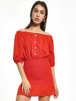 KOOVS Button Detail Off-Shoulder Dress