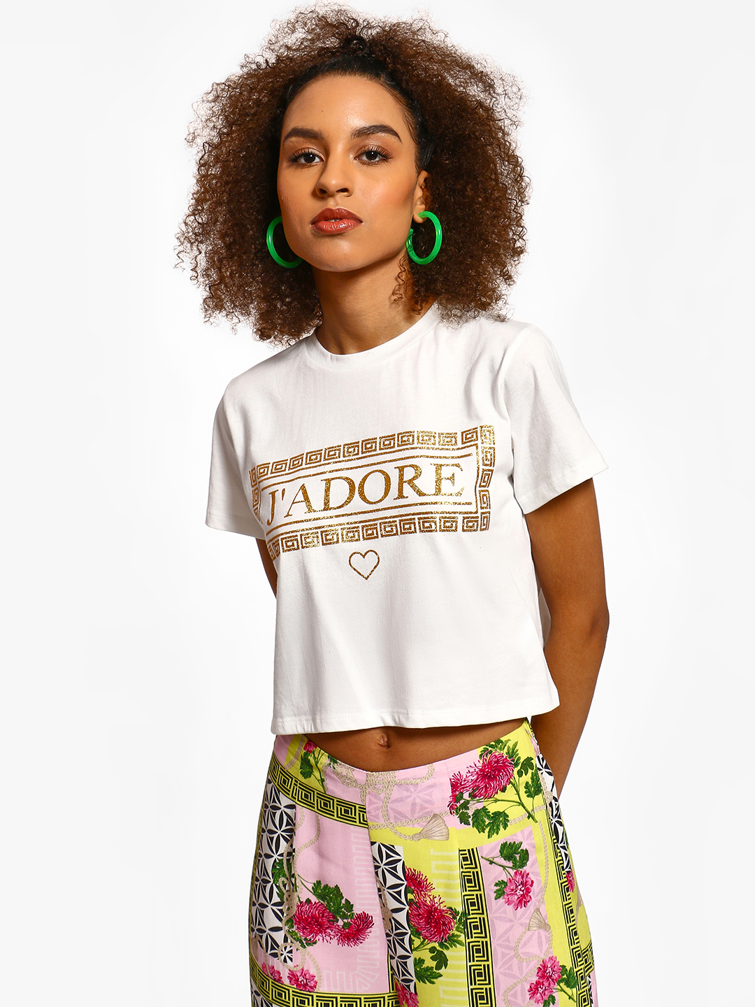 KOOVS White Foil Text Print Crop T-Shirt 1