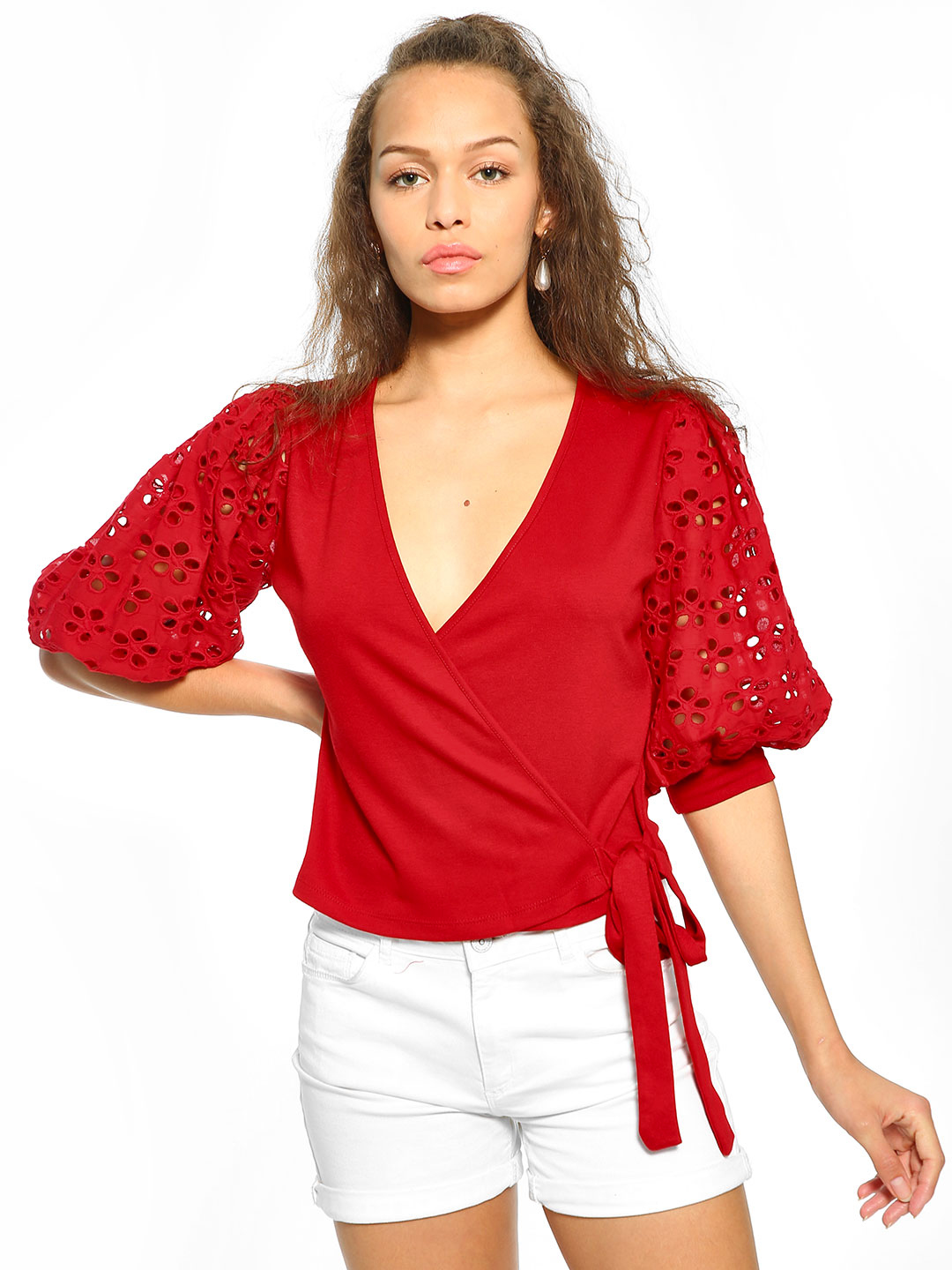KOOVS Red Front Wrap Broderie Sleeve Blouse 1