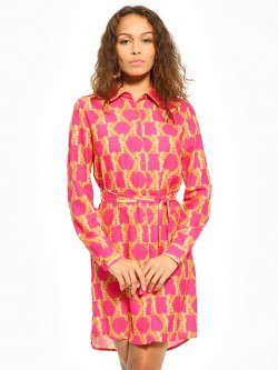 KOOVS Scarf Print Shirt Dress