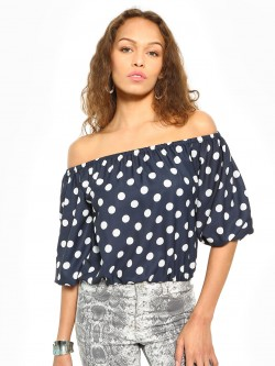 KOOVS Polka Dot Print Off-Shoulder Top