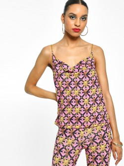 KOOVS Chain Baroque Print Cami Top