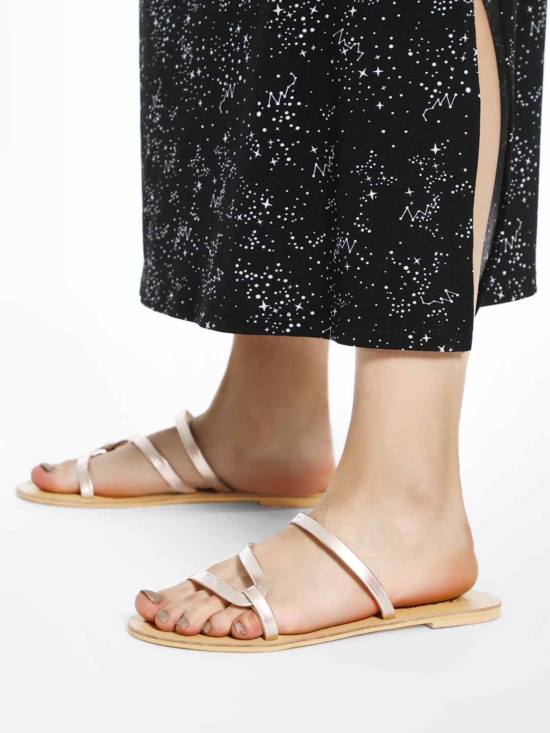 KOOVS Rose Gold Metallic Strap Flat Sandals 1