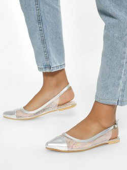 KOOVS Metallic See-Through Flat Slingback Mules