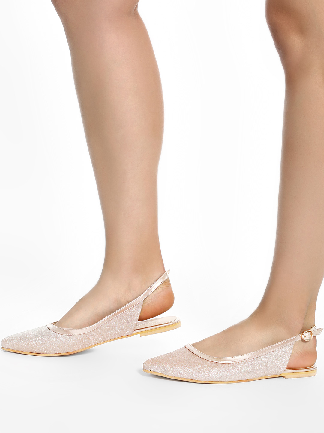 KOOVS Rose Gold Gradient Textured Flat Mules 1