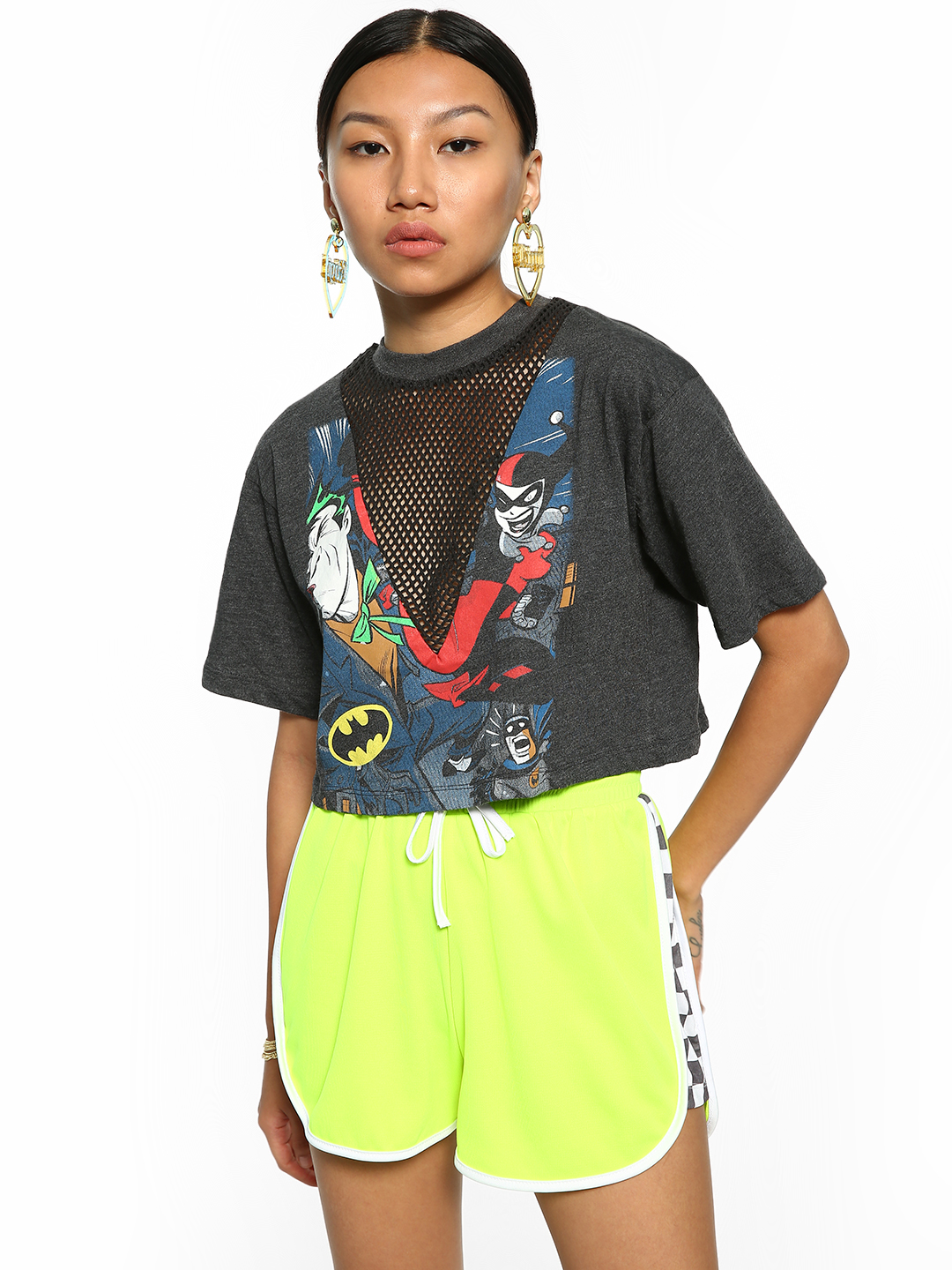 Free Authority Multi Batman Print Mesh Crop T-Shirt 1