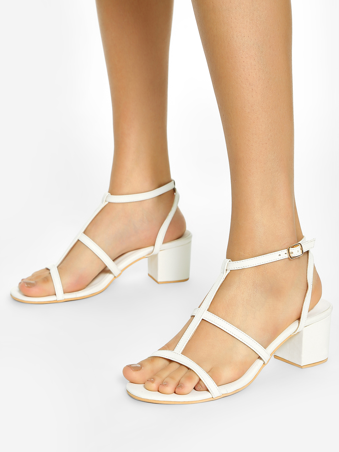 Shoe that fits You White Multi-Strap Heeled Sandals 1